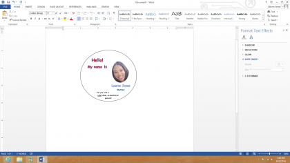 1 – Create the badge using Microsoft Word