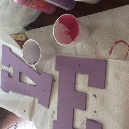 Paint each letter the colors you selected. I chose pink and lavender.